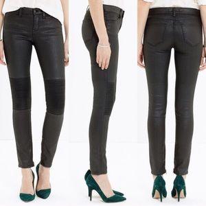 e994e9ac87a3 Madewell Skinny Skinny Black Coated Moto Jeans
